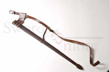 Scheide für Eineinhalbhand Schwert mit Gürtel, braun