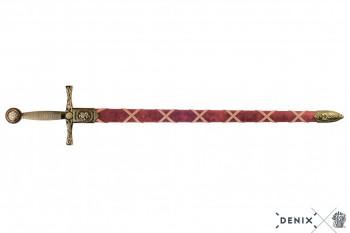 Excalibur, Schwert Arthurs messingfarben, rote Scheide