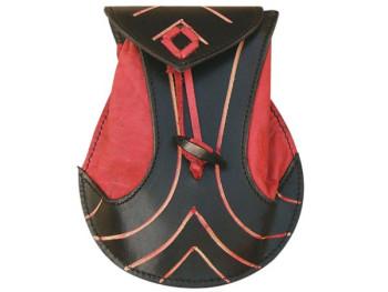 Elven Ledertasche schwarz rot