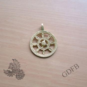 Römischer Radfibelanhänger aus Messing, 3,5 cm Durchmesser