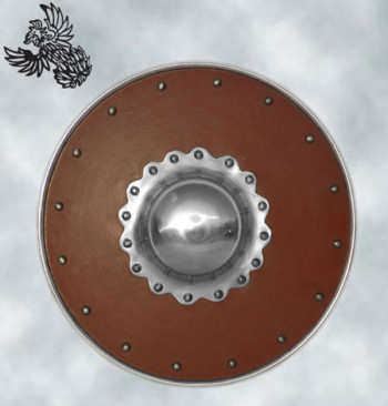 Lederbezogener Buckler mit verziertem Buckel, 23 cm Durchmesser
