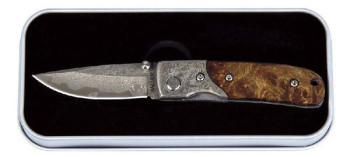 Damast-Taschenmesser Wurzelholzgriff