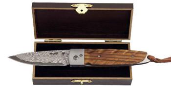 Damast-Taschenmesser Zebraholzgriff in Geschenkbox