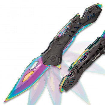 Rampage Schwarz und Regenbogenfarben Klappmesser