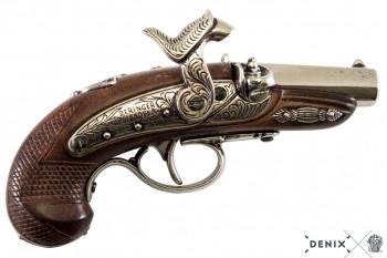 Deringer Pistole, nickelf, Kunstst. Philadelphia, USA 1862