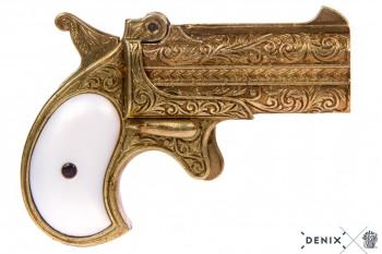Derringer, Doppellauf, Kal.41, messingf. Perlmuttimit, USA 1866