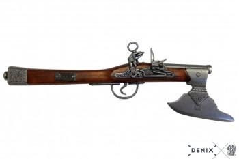 Deutsche Axtpistole, Steinschloss 17.Jhdt, Holz/Metall