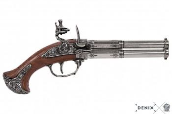Doppellauf Steinschlosspistole Fr. 18. Jhdt. Metall, Kunststoff