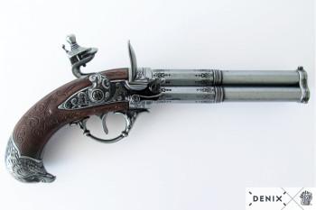 Dreiläufige Steinschlosspistole mit Adlerkopfgriff, 18. Jhdt.