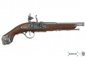 Deutsche Steinschlosspistole, grau, 18. Jhdt