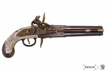 Englische Doppellauf Pistole mit drehbaren Lauf, 1750