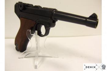 Luger-Pistole PO8 Parabellum 1898, normaler Lauf, Holzgriff
