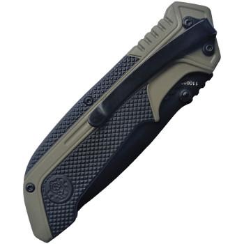 Federgestütztes Messer mit gezahnter Drop-Point-Klinge