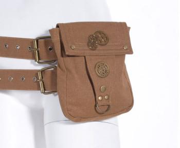 Steampunk Tasche mit Gürtel braun