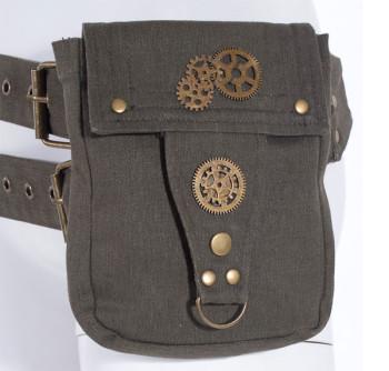 Steampunk Tasche mit Gürtel, grün