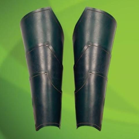 Grüne Elben-Beinschienen aus Leder