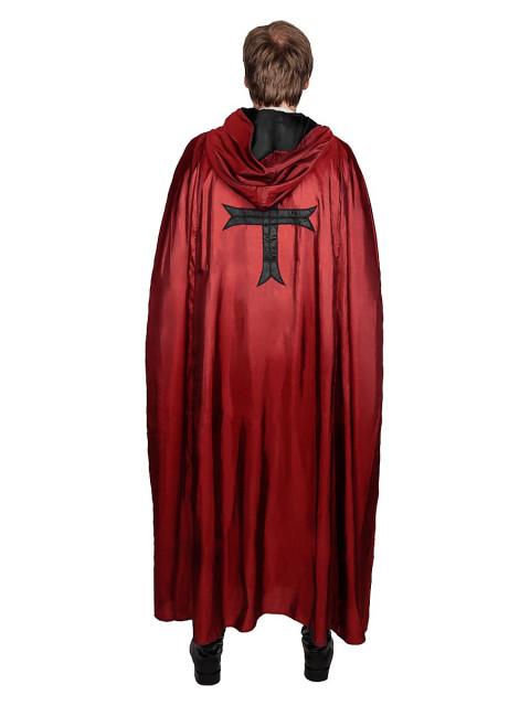 Roter Kapuzenumhang mit Kreuz