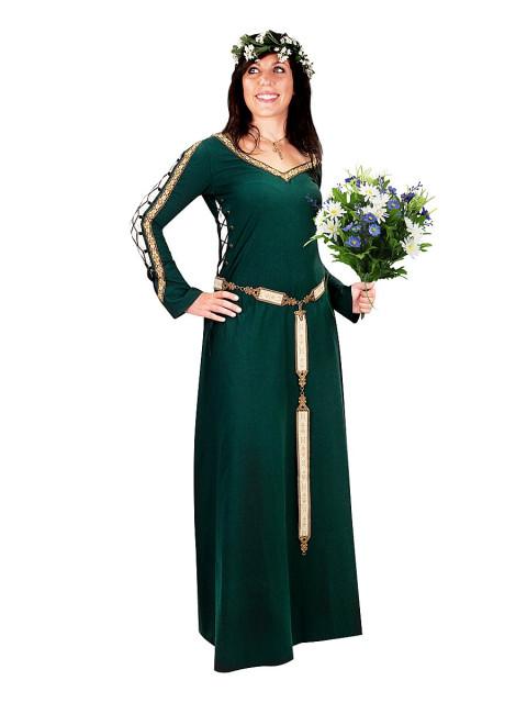Mittelalterliches Schnürkleid grün, Größe L