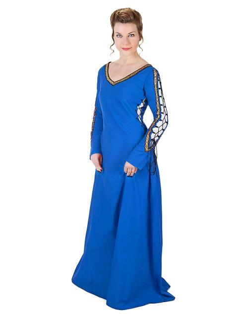 Mittelalterliches Schnürkleid blau, Größe XL