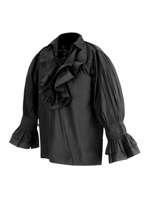 Rüschenhemd Renaissance schwarz, Größe L/XL