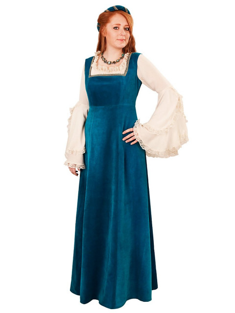 Burgherrin türkisblau Kostüm, Größe S