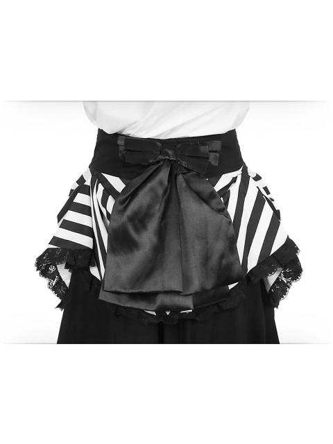 Überrock mit Schößchen und Schnallen schwarz-weiß, Größe S