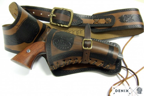 Coltgürtel aus Leder inklusive 24 Kugeln, für 1 Colt