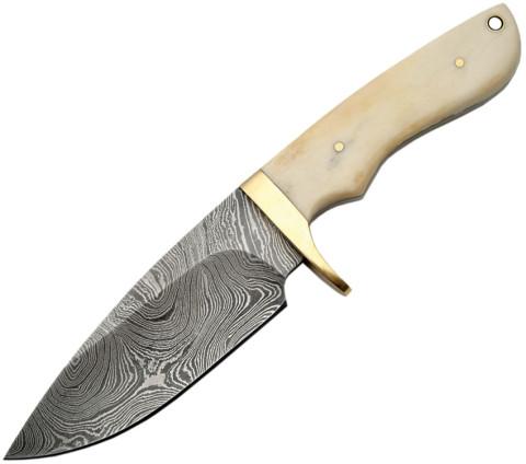 Damast-Messer, Festgestellte Klinge, Knochengriff