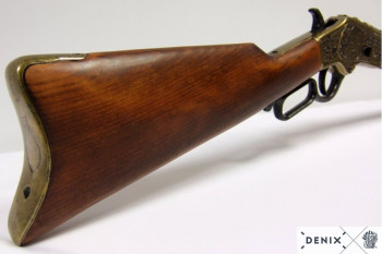 Winchester, brass colored, engraved with wood shaft