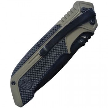 spring assisted folder with drop point blade